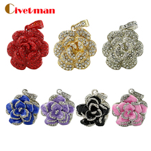 France Colorful Flower Roses USB Flash Drive 64GB 32GB 16GB 8GB Crystal Necklace Pen Drive Flash Pendrives Memory USB 2.0 Stick