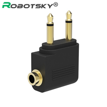 Robortsky Gold-plated Aircraft Airline Converter 3.5mm Male to 2 3.5mm Female Audio Adapter For Headset Earphone