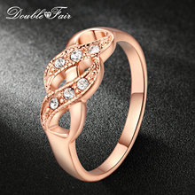 Double Fair Cubic Zirconia Infinity Rings Rose Gold Color Fashion Spacial Wedding/Engagement Ring Jewelry For Women Gift DFR334(China)