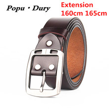 Popu`Dury New Sale Belts 100% Pure Cowskin Leather Extra Large Size 160cm 165cm Luxury Pin Buckle Straps For Men Ceinture Femme(China)