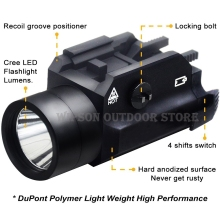 WIPSON Rail Mount CREE LED High Lumen Tactical Flashlight Light with Strobe for Pistol Rifle Handgun Gun Black(China)