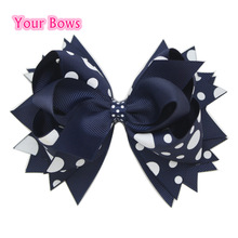 1PC 5.5Inch Navy Big Polka Dots Children Kids Girls Hair Bows Stacked Boutique Bows With 6cm Hair Clips Polyester Girls Hairpins