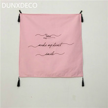 DUNXDECO 65x65CM Chick Romantic Words Tissule Pink Cotton Table Cloth Cover Hanging Fabric Home Store Decoration Photo Prop