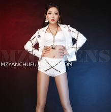 White Leather Stage Wear Dance Outfit Clothing Set Nightclub Costume Set Clubwear Jacket Female Singer Dancer Clothes Bra Short