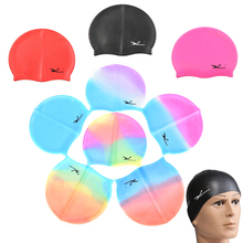 Women Men Waterproof Colorful Rainbow Swimming Cap Silicone Ear Long Hair Protection Swim Pool Swimwear Hats for Adults
