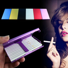 Aluminum Alloy Metal Slim Creative Smoking Gift For Woman Lady King Size Portable Pocket Cigarettes Case Fashion Box Holder