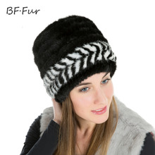 BFFUR Women's Winter Hats New Fur Knitted Cap Women Lined Natural Real Fur Cap Hat Genuine Mink Fur Hat Female Winter BF-M0022