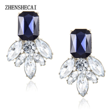 Jewelry Fashion Earrings Studs brincos Cute Flower Pendientes Stone Black Crystal Earrings For Women Party  e046