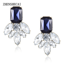 Jewelry Fashion Earrings Studs brincos Cute Flower Pendientes Stone Black Crystal Earrings For Women Party e046(China)
