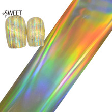 100cmx4cm Hot Laser Gold Nail Foils Glue Adhesive Nail Art Transfer Foil Sticker Stylish Decor Glitter Full Wrap Manicure LAJY03
