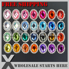 Free Shipping 19x24mm Oval Metal Rhinestone Embellishment Button Flat Back for Bows,Headband/Assorted Colors in Silver Base