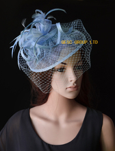 NEW Pale blue navy blue sinamay fascinator with feathers&veiling for weddings,races,party,Derby Kentucky.FREE SHIPPING(China)