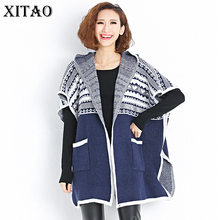 [XITAO] 2017 Autumn Women Casual Loose Patchwork Open Stitch Sweater Batwing Hooded Collar Short Sleeve Cardigans Sweater KY732