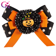"4"" Boutique Halloween Hair Bows With Pumpkin For Kids Girls Princess Handmade Grossgrain Ribbon Hairgrips Hair Accessories(China)"