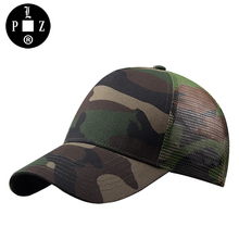 PLZ Camo Cap Mesh Hat Fashion Camouflage Baseball Cap Men Trucker Hat Army Green 2017 Summer Dad hat Top Quality 56-59cm(China)