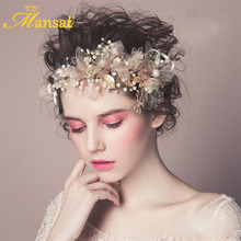 European Handmade Pink Lace Flower Headband Baroque Pearls Jewelry Hair Accessories for Wedding Crystal Hair Decoration Hairband