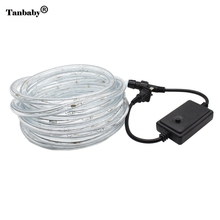 Tanbaby AC220V 20leds/m IP67 waterproof rgb led strip Rainbow Lights Christmas Holiday Decoration light with Flash Controller(China)