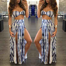 Crop Top And Skirt Set Hot Sale Free Shipping Explosion 2017 Couture Fashion Bra Split Skirt Hem Stamp Striped Suit Temperament