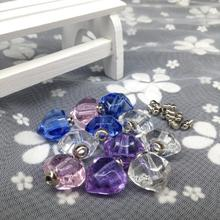 300pcs Colorful polyhedron heart Crystal Vial Pendant Screw Cap vase Perfume essential oil aroma Bottle necklace jewelry gift