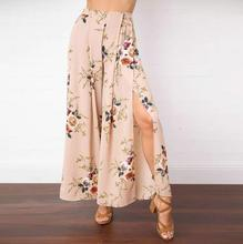 Summer Fashion 2017 Wide Leg Pants Women Europe Style Floral Print Skirt Pants Split Chiffon Trousers Mid-Waist Loose Plus Size(China)