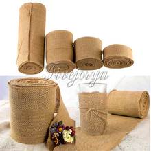 10Meter Long Natural Jute Hessian Burlap Roll Ribbon Burlap Table Runners Wedding Party Chair Bands Vintage Home Decor 4 Size