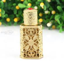 Antique Hollow Out Metal Perfume Bottle Cut Glass Empty Wedding Decor 2ml
