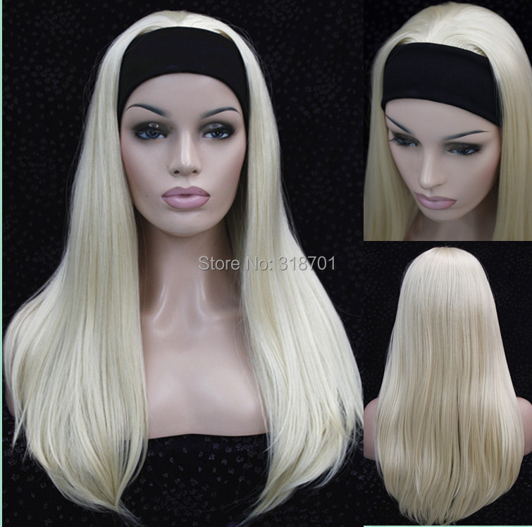 Half wig 3/4 wigs With headband Long Straight Blonde Synthetic Hair Wig 9 colors for you choose Free shipping<br><br>Aliexpress