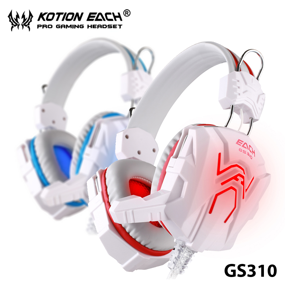 Free shipping++ 3.5mm Gaming Headphone White+Blue Headset+Mic For FPS LOL For PS4 Laptop Blue LED Earcup KOTION EACH GS310<br><br>Aliexpress