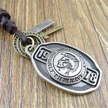 New Arrival Handmade Punk Brown Genuine Leather Vintage Cross Cool Skull 1978 Pendants Mens Necklace Women Sweater Chain Jewelry(China)