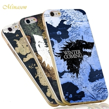 Minason Jon Snow Game of Throne Wolf Map Soft TPU Silicone Anti-knock Phone Phone Case for iPhone X 8 7 6 6S Plus 5 SE 5S Cover