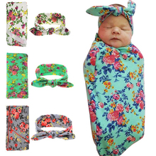 Naturalwell Newborn Swaddle & headwrap Hospital Swaddled Set Floral swaddle set Headband Newborns photo prop Top knots 1pc HB568(China)