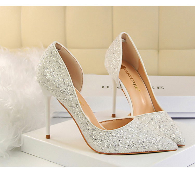 Women Pumps Sexy Glisten Women Shoes Wedding Party Dress Heels Women Hollow Shallow Mouth High Heels Stiletto 868-8 12