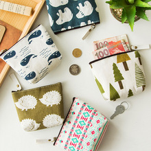PACGOTH Vintage Canvas Animal Tree Pattern Coin Purse Casual Cute Square Kawaii Purse Zipper For Money Coin 11*9cm 1 Piece