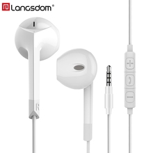 Langsdom E6U In-ear Earphone for iPhone Bass Headset with Microphone Phone Earphones for Xiaomi Airpods Earpods fone de ouvido(China)