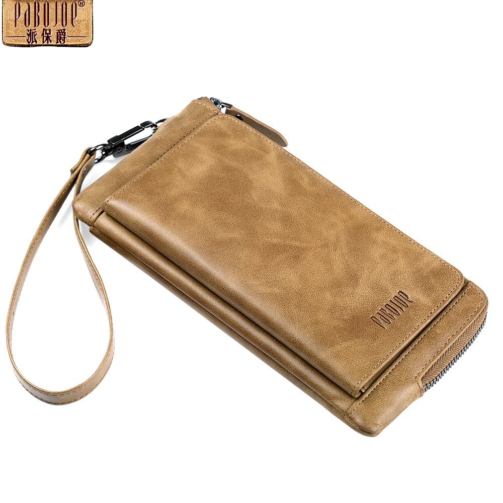 Pabojoe Mens Wallet Genuine Leather  Purse Vintage Style Card Holder Popular Design 2018 Leather Wallet<br>