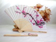 200pcs Personalized Cherry Blossom Silk Fan Wedding Favor Gift Plum Blossom Hand Folding Fan wintersweet+Customized Printing(China)