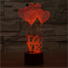 Love balloon Touch Senor novelty 3D LED night light for bady room bedside table lamp creative birthday gift abajur luminarias(China)
