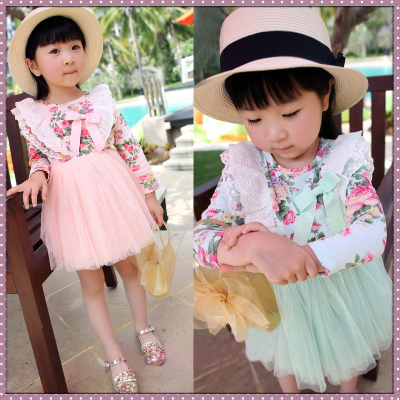 Free shipping Hot-selling spring girl dress floral high waist multilayer yarn dress<br><br>Aliexpress