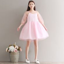 2017 New Spring Summer Cute Women dress Puff Sleeve Loose Mesh Dust Dresses Pink Purple 9007(China)