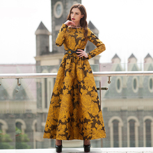 Buy Vintage Printed Flowers Autumn long Maxi Dress Plus Size Women Clothing Muslim Long Sleeve Party Dresses High Robe for $54.89 in AliExpress store