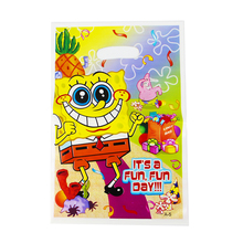 Sponge Bob Theme Boy Girl Baby Happy Birthday Party Decoration Birthday Party Decorations Kids Loot Bag Gift Bag 20pcs/lot(China)