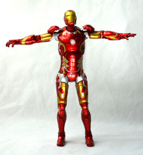 SAINTGI 1pcs/set Iron Man3 Action LIGHT Figure MK43 Edition The Avengers Anime Marvel Toy Classic Collection 23cm Boxed Tony