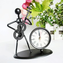 1pc Iron Metal Craft A Man Plays Violin Cello Roman Numbers Clock For Office Home Creative Ornaments Display C70