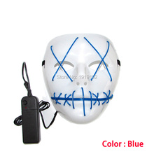 Wholesale 100pcs Glowing LED masks Halloween Mask EL wire mask Fashion Cosplay Costume plastics mask For Party Decoration(China)