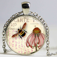 Free shipping Bee Necklace Honeybee Jewelry Coneflower Garden Flower Floral Art Pendant Glass cabochon Necklace