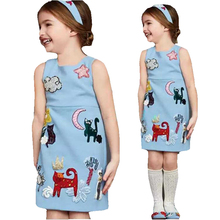 Light Blue Animal Pattern Elegant Styple Baby Girl Dress Party Princess Clothes  Kids Blue Dress  From 2-7 Years