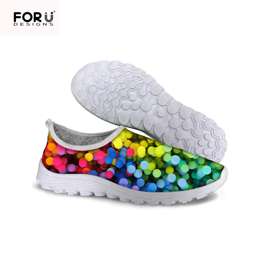 FORUDESIGNS Summer Mesh Shoes Women Luxury Dots print Casual Shoes woman Comfortable Fashion Flats Trainers female Walking Shoes<br><br>Aliexpress