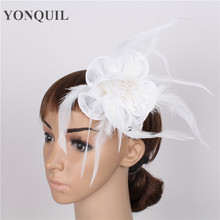 19 Colors fashion wedding women fascinator headbands Hair Accessories party headdress with Feather hairpin delicate headwear(China)