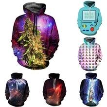 Drop shipping Fashion 3D Galaxy hoodies print weed/tiger/cat jacket men/women Harajuku sweatshirt casual Graphics pullover hoody