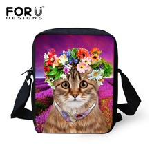 FORUDESIGNS Vintage Women Messenger Bag Cute Animal Cat Prints Baby Girls Small Shoulder Bag For School Kids Satchel Bag Mochila(China)